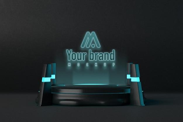 Modern futuristisch logo mockup-ontwerp