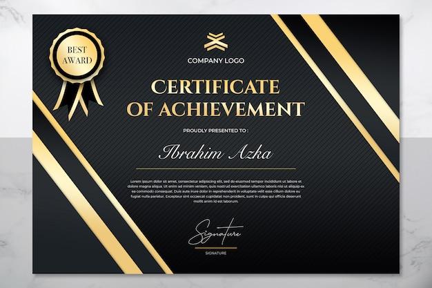 Modern gouden certificaat van prestatie sjabloon