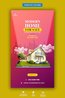 Modern huis te koop instagram verhaalsjabloon