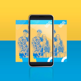 Modern instagram postmalplaatje met smartphone