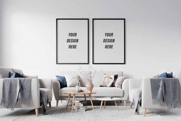 Modern interieur woonkamer frame en muurmodel