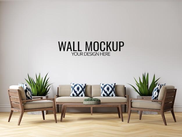 Modern interieur woonkamer muur achtergrond mockup met meubels en inrichting