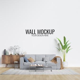 Modern interieur woonkamer muur mockup met meubels en decor