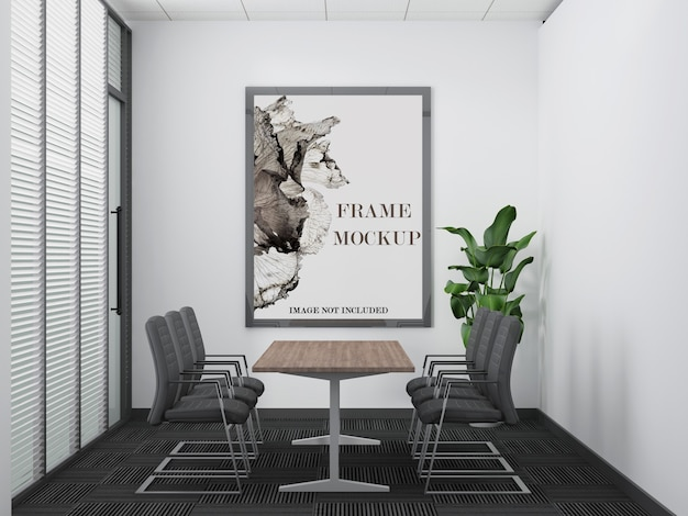 Modern kantoorvergaderruimte groot frame mockup