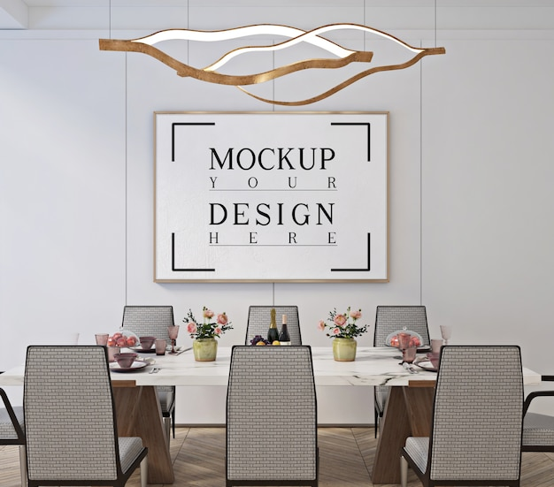 Modern klassiek eetkamerontwerp met mockup-frame poster