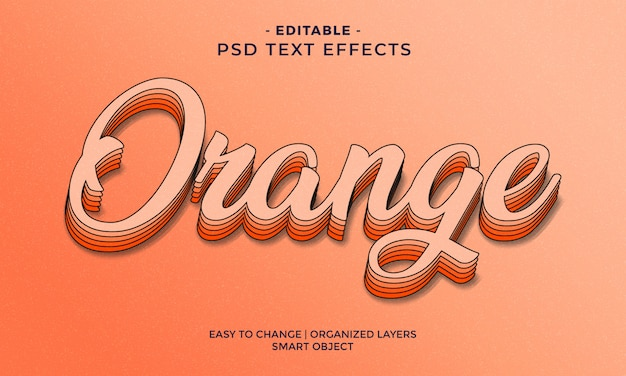 Modern kleurrijk oranje teksteffect
