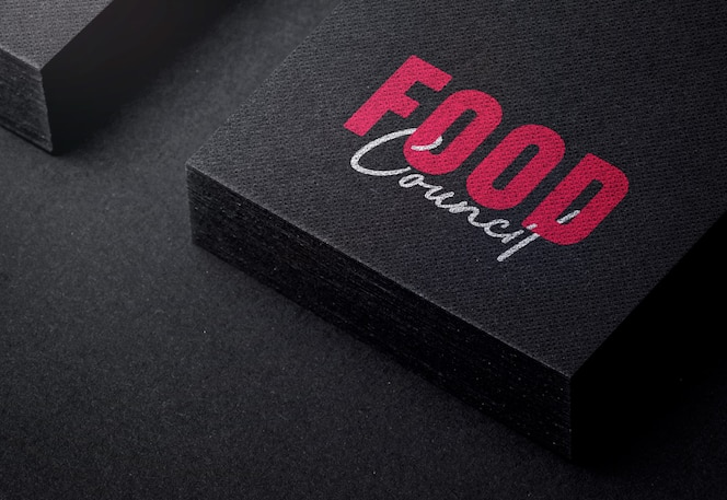Modern logo mockup op zwart visitekaartje