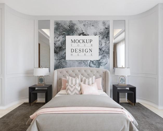 Modern luxe slaapkamerontwerp met frame mockup