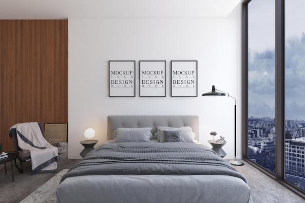Modern luxe slaapkamerontwerp met mockup-ontwerpaffiche
