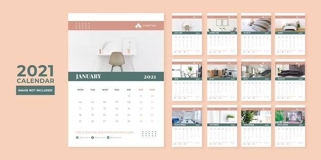 Modern meubilair concept bureau kalender ontwerpsjabloon