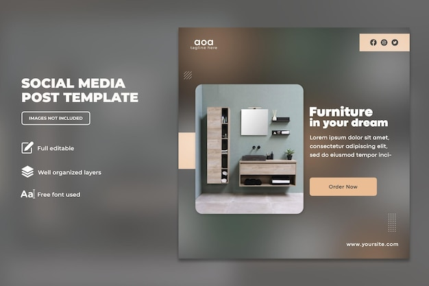 Modern meubilair social media-ontwerp of vierkante flyer-sjabloonontwerp