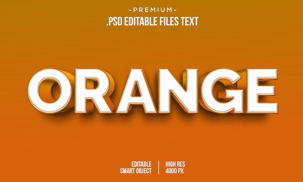 Modern orange houdt van 3d-verloop vetgedrukte tekststijl, 3d oranje tekststijleffect, 3d oranje teksteffect met laagstijlen