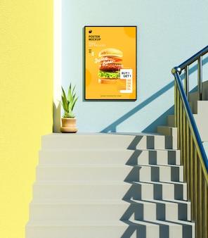 Modern restaurant poster mockup op de muur