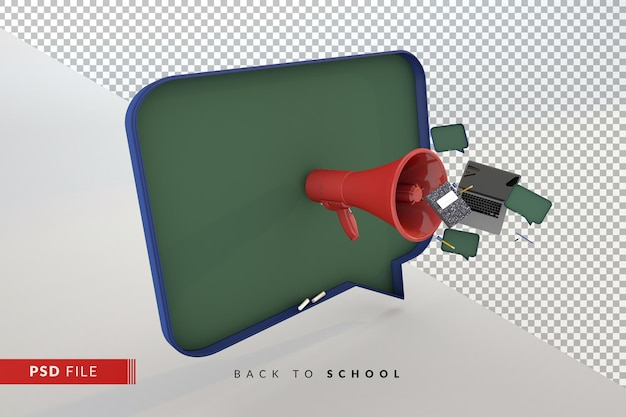 Modern schoolbord met rode megafoon en studententoebehoren een terug naar school 3d concept