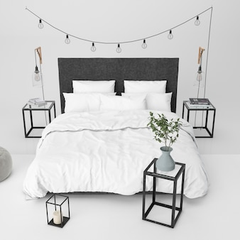 Modern slaapkamermodel met decoratieve elementen