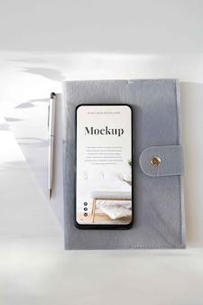 Modern smartphone mock-up arrangement