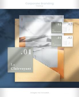 Modern visitekaartje en bedrijfsmerkmodel met donkere schaduwoverlays