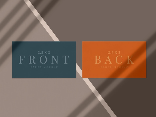 Modern visitekaartje mock-up ontwerp voor presentatie branding, huisstijl, persoonlijk met schaduw-overlay