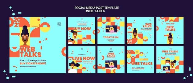 Modern web spreekt social media postsjabloon