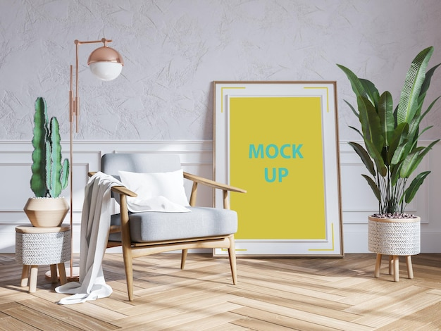 Modern woonkamer interieur met frame mockup