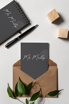 Modern zakelijk briefpapier mock-up arrangement Premium Psd