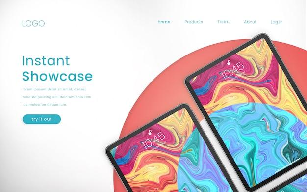 Moderna maqueta y página de inicio perfectas para teléfonos