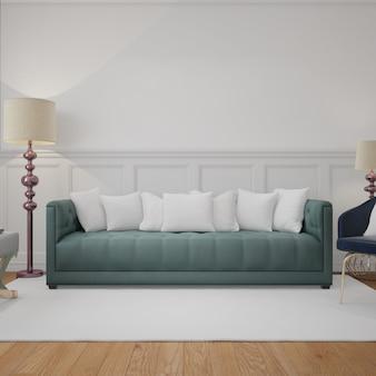 Moderna sala de estar con sofá y cojines de maquetas