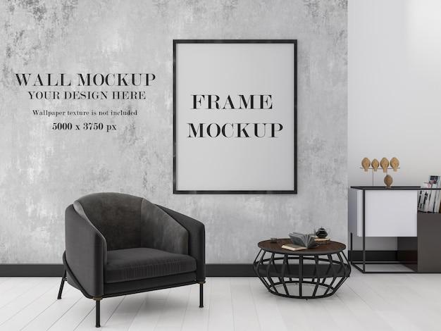 Moderne binnenmuur en frame mockup