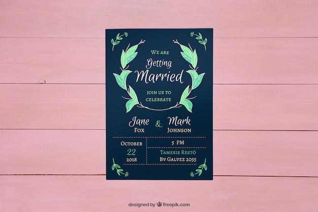 Moderne bruiloft uitnodiging mockup