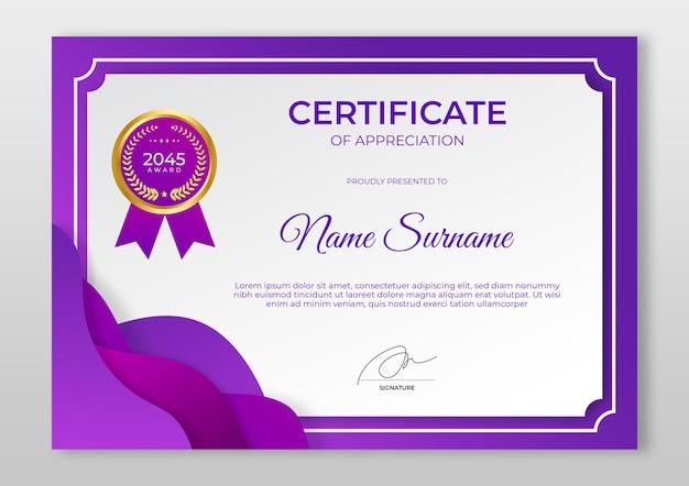 Moderne certificaatsjabloon met kleurovergang luxe gouden badge-certificaat van prestatiesjabloon