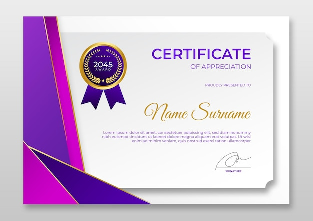 Moderne certificaatsjabloon met kleurovergang luxe goudpaars certificaat van prestatiesjabloon