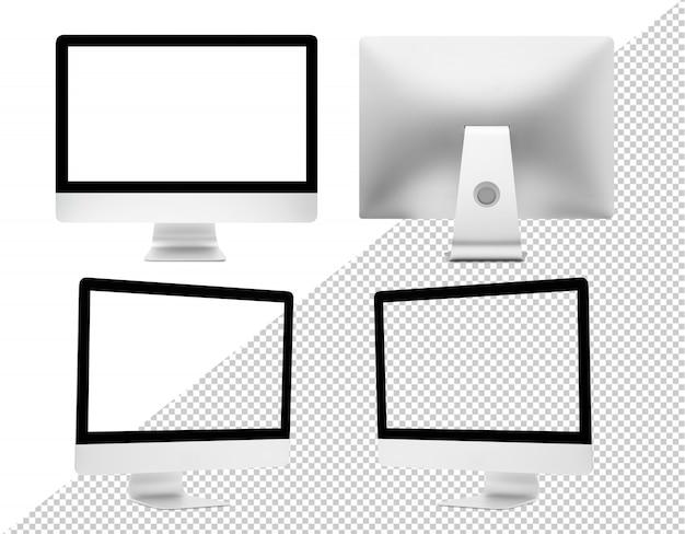 Moderne computerdesktop met schermmodel voor uw ontwerp, uitgesneden geïsoleerd
