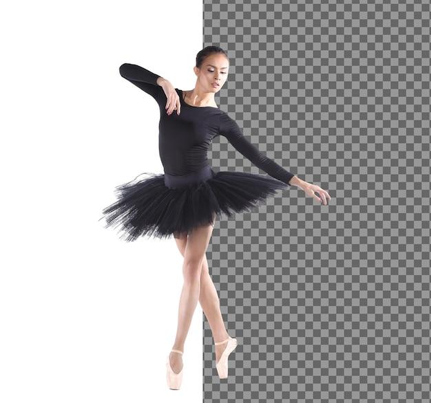 Moderne danseres in zwarte turnpakje met tutu balletkostuum en crème c