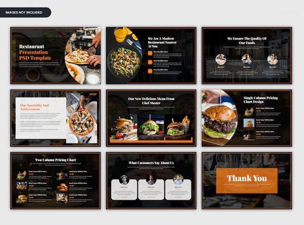 Moderne donkere minimale restaurant presentatiesjabloon