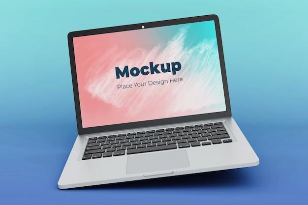 Moderne drijvende laptop mockup ontwerpsjabloon