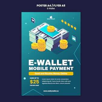 Moderne e-wallet afdruksjabloon