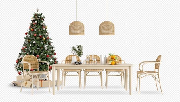 Moderne eetkamer met kerstboom en tafel in 3d-rendering