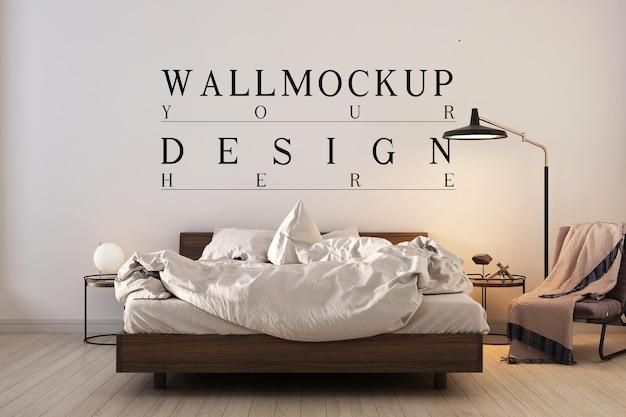 Moderne eigentijdse slaapkamer met mockup-ontwerpmuur