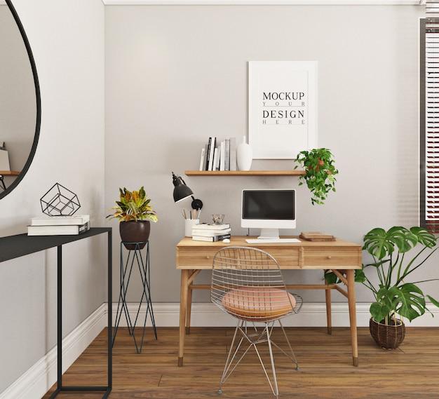 Moderne en eenvoudige studeerkamer met mockup frame