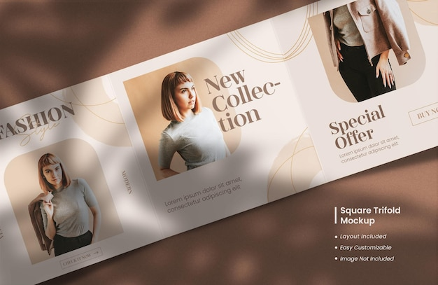 Moderne en minimalistische geopende vierkante driebladige brochure of tijdschriftmodel met sjabloonlay-outontwerp