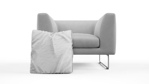 Moderne fauteuil met kussen geïsoleerd