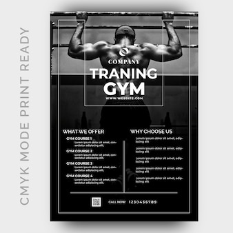 Moderne fitness gym flyer ontwerpsjabloon