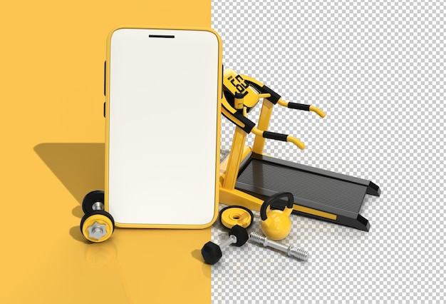 Moderne fitnessapparatuur met lege mobiele mockup