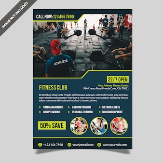 Moderne fitnessruimte fitness folder sjabloon