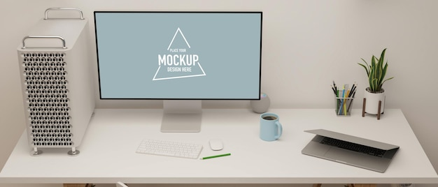 Moderne geheel witte werkruimte met desktopcomputer mockup laptop 3d illustratie