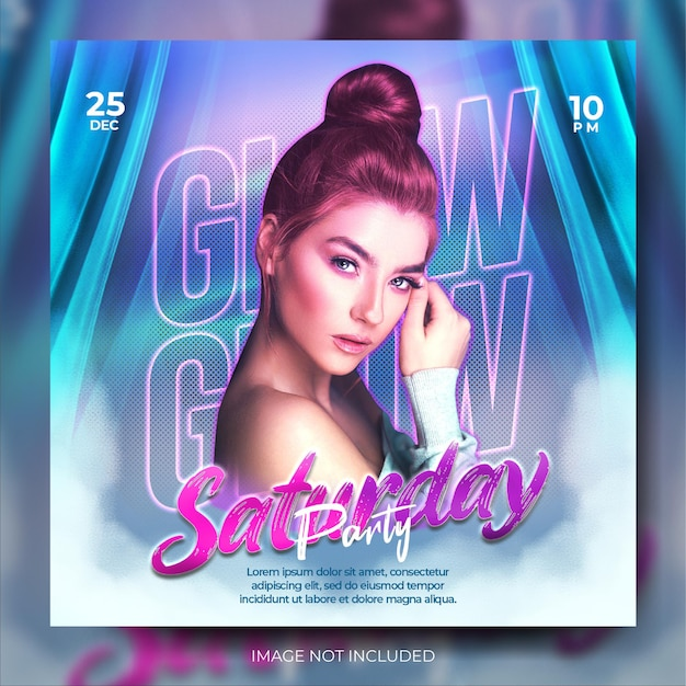 Moderne gloed nachtclub muziek feest social media banner post feed