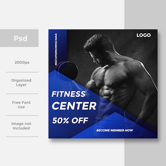Moderne gym en fitness social media banneradvertentie sportlay-out