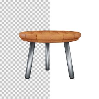 Moderne houten en stalen tafel geïsoleerd