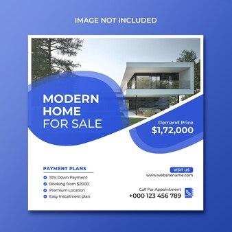 Moderne huisverkoop sociale media promotie instagram-sjabloon ps