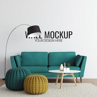 Moderne interieur woonkamer muur mockup achtergrond